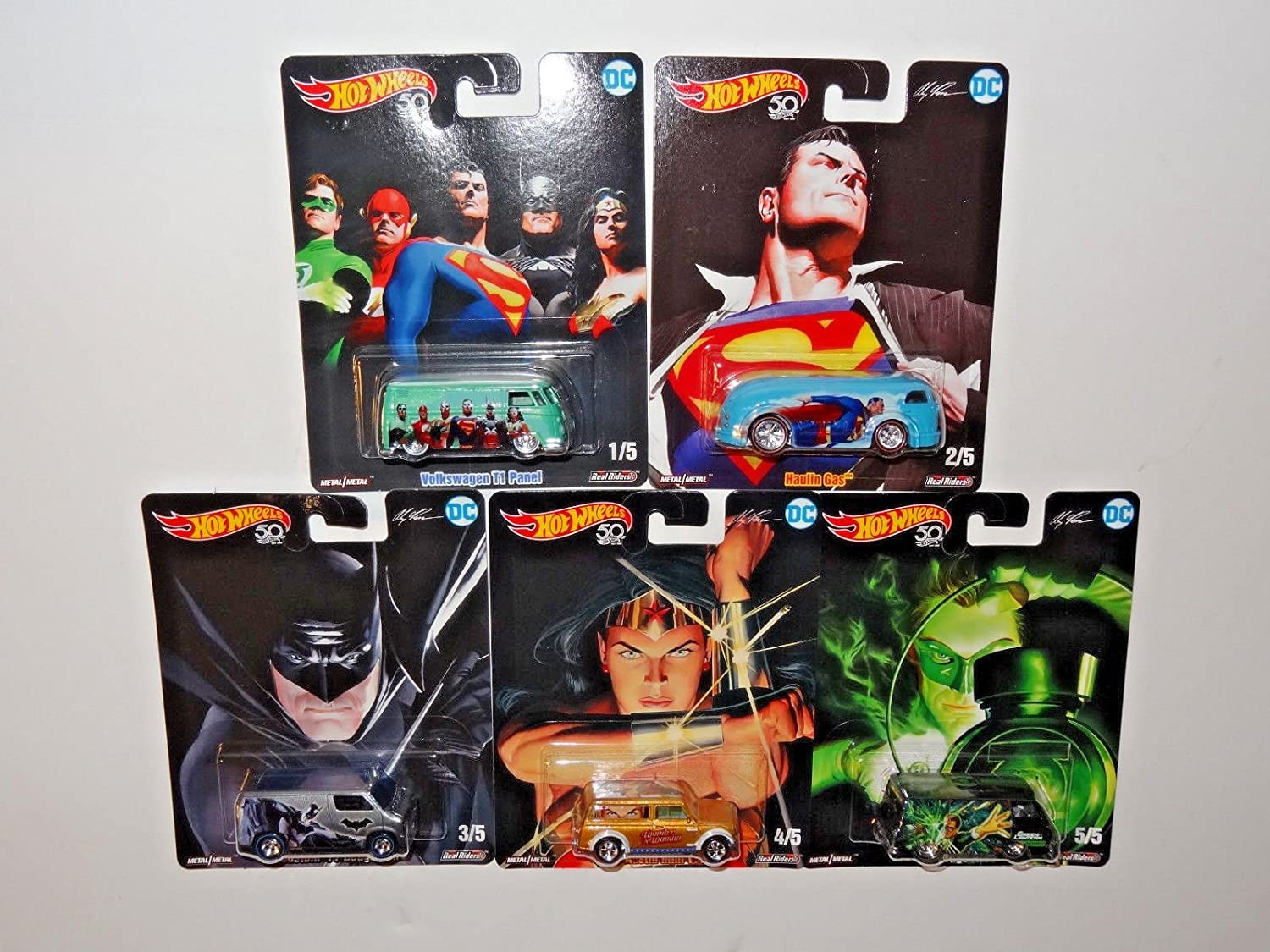 Hot Wheels Pop Culture 2018 Alex Ross DC Heroes Series Premium Adult Collectible Diecast Cars Set of 5