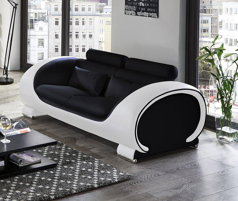 Großartig Sofa Garnitur 3 Teilig Leder Referenz Von Sam Vigo Teilig, Schwarz/weiß, Couch Aus Kunstleder: