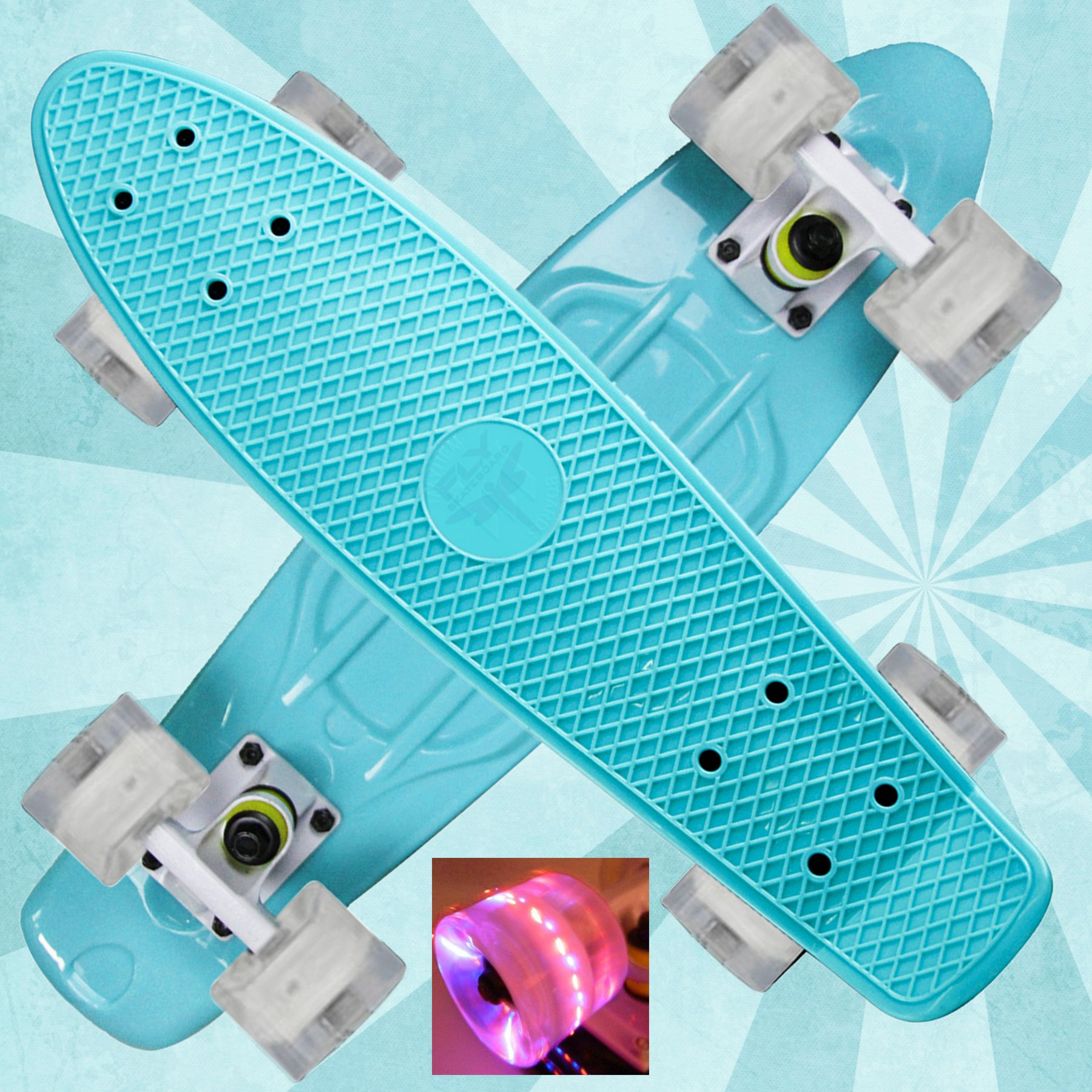 Brand new Beautiful ''Celestial Teal'' with Unique Fun Wheels 22'' Mini Retro Cruiser Plastic Skateboard Penny Style - Complete Board with ABEC 7 Bearings - Best Gift for boys or girls
