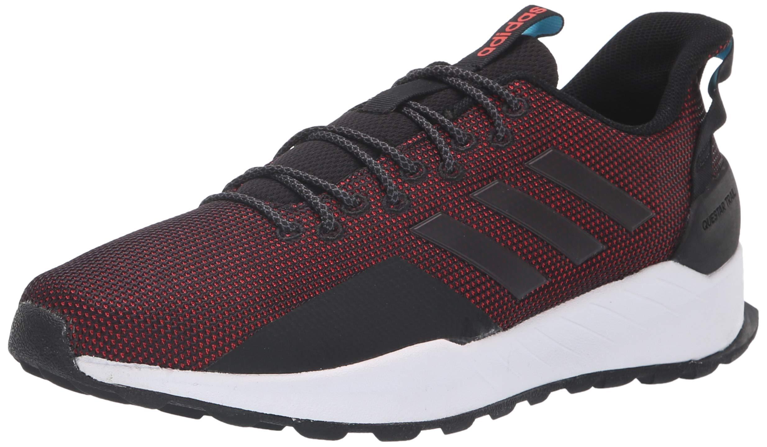 adidas Men's Questar Trail Running Shoe, Black/hi-res red, 10 M US