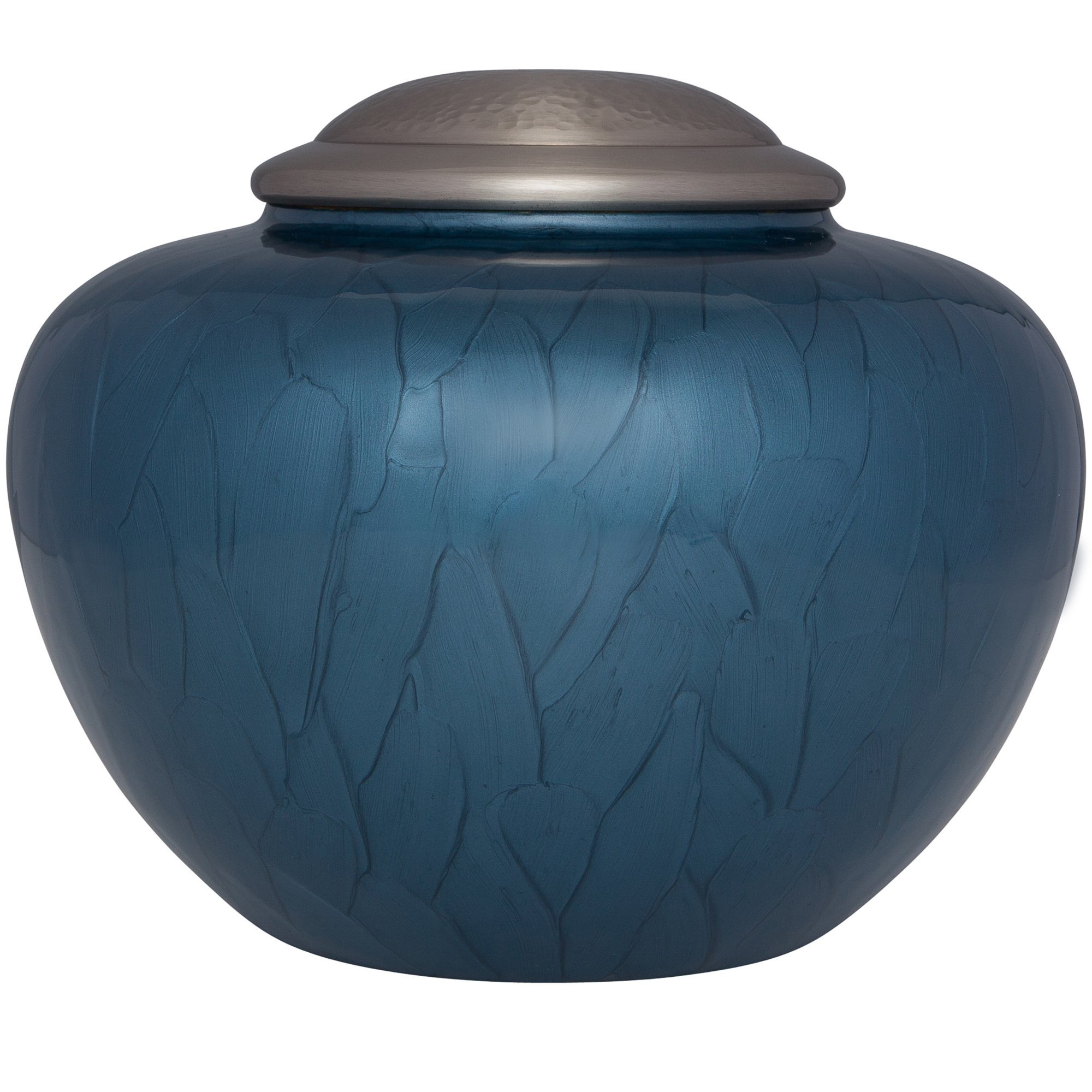 Blue Funeral Urn by Liliane Memorials - Cremation Urn for Human Ashes - Hand Made in Brass - Suitable for Cemetery Burial or Niche - Large Size fits remains of Adults up to 200 lbs - Nido Blue Model
