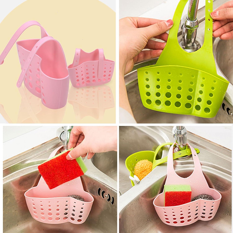 Hanging Sink Holder, Plastic Kitchen / Bathroom Gadget Storage Caddy Basket for Sponges, Scruber, Scourer Pads (Blue) TJW