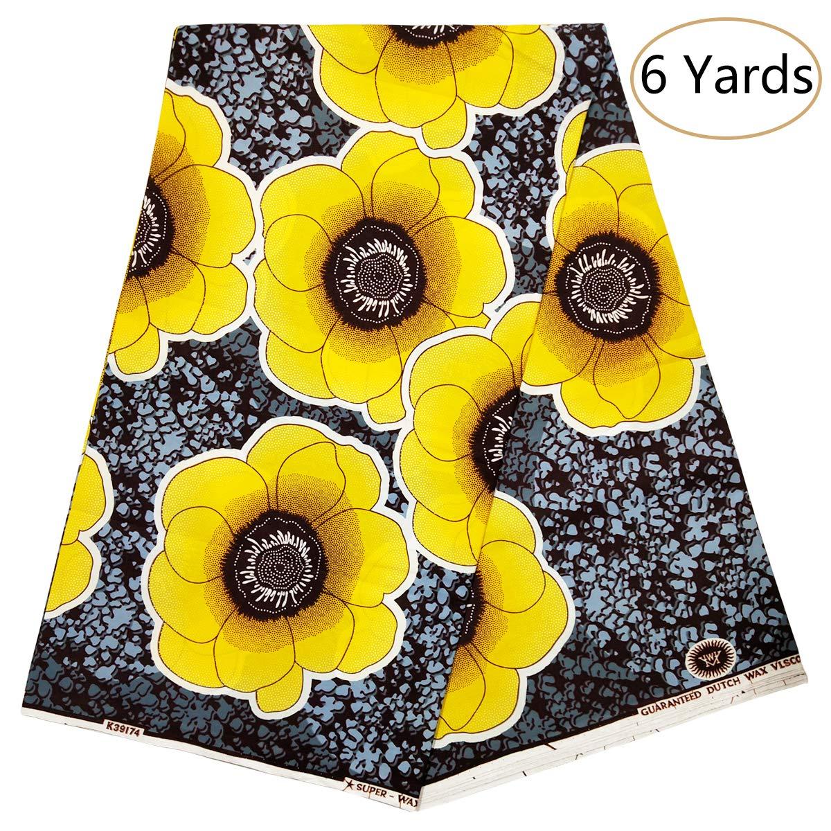 Dexuelan New Africa Ankara Supreme Wax Print Fabric 6 Yards African Fashion Fabrics for Party Dress