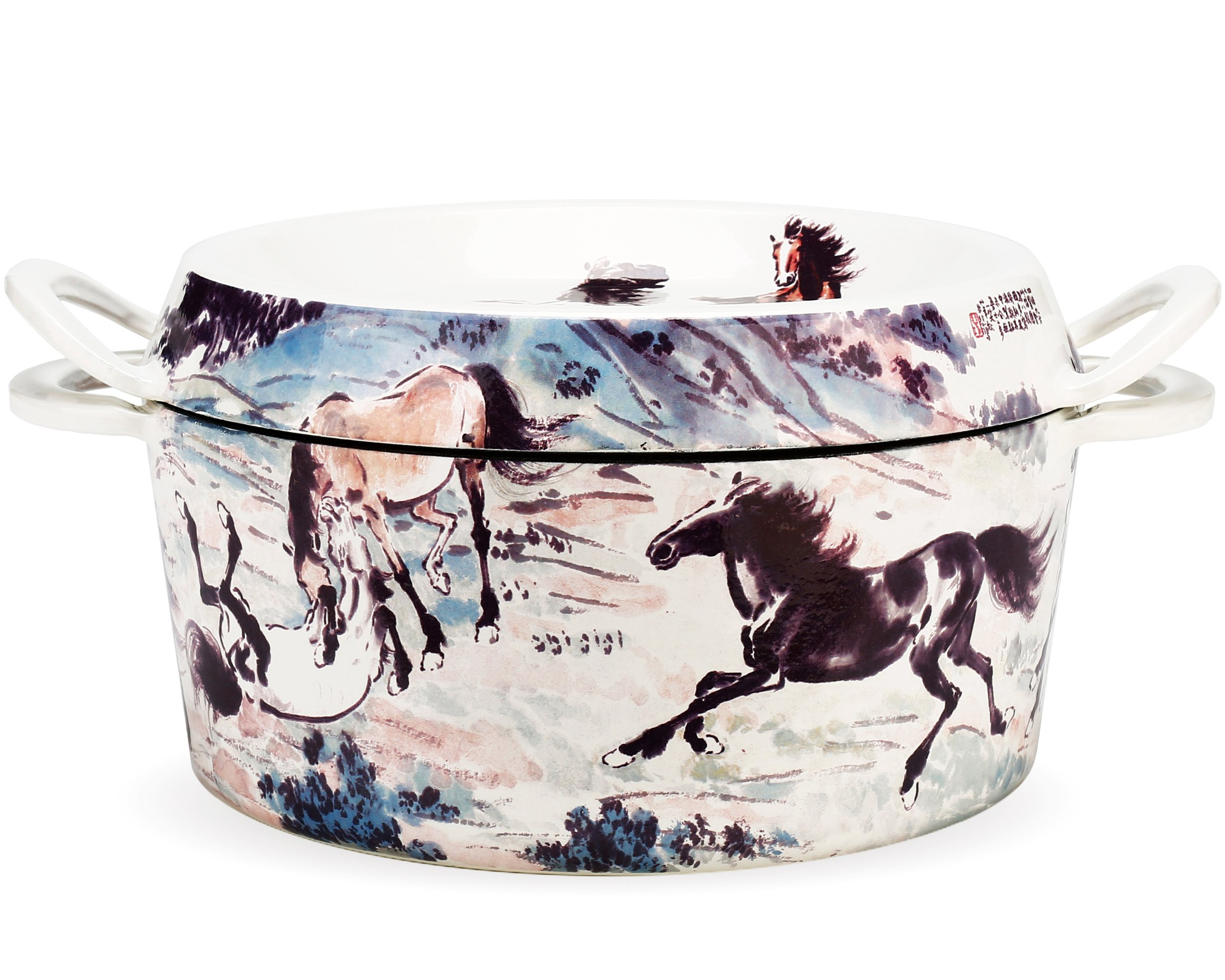 Hand Painted Enameled Cast Iron Dutch Oven,4.5-Quart,Chinoiserie,Collector's Edition,Xu Beihong,Ten horses