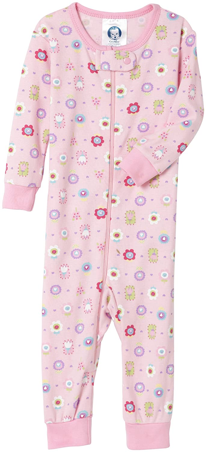 Amazon.com: Gerber Flowers Cotton PJs Unionsuit, Light Pink, 12 Months: Infant And Toddler Pajama Sets: Clothing
