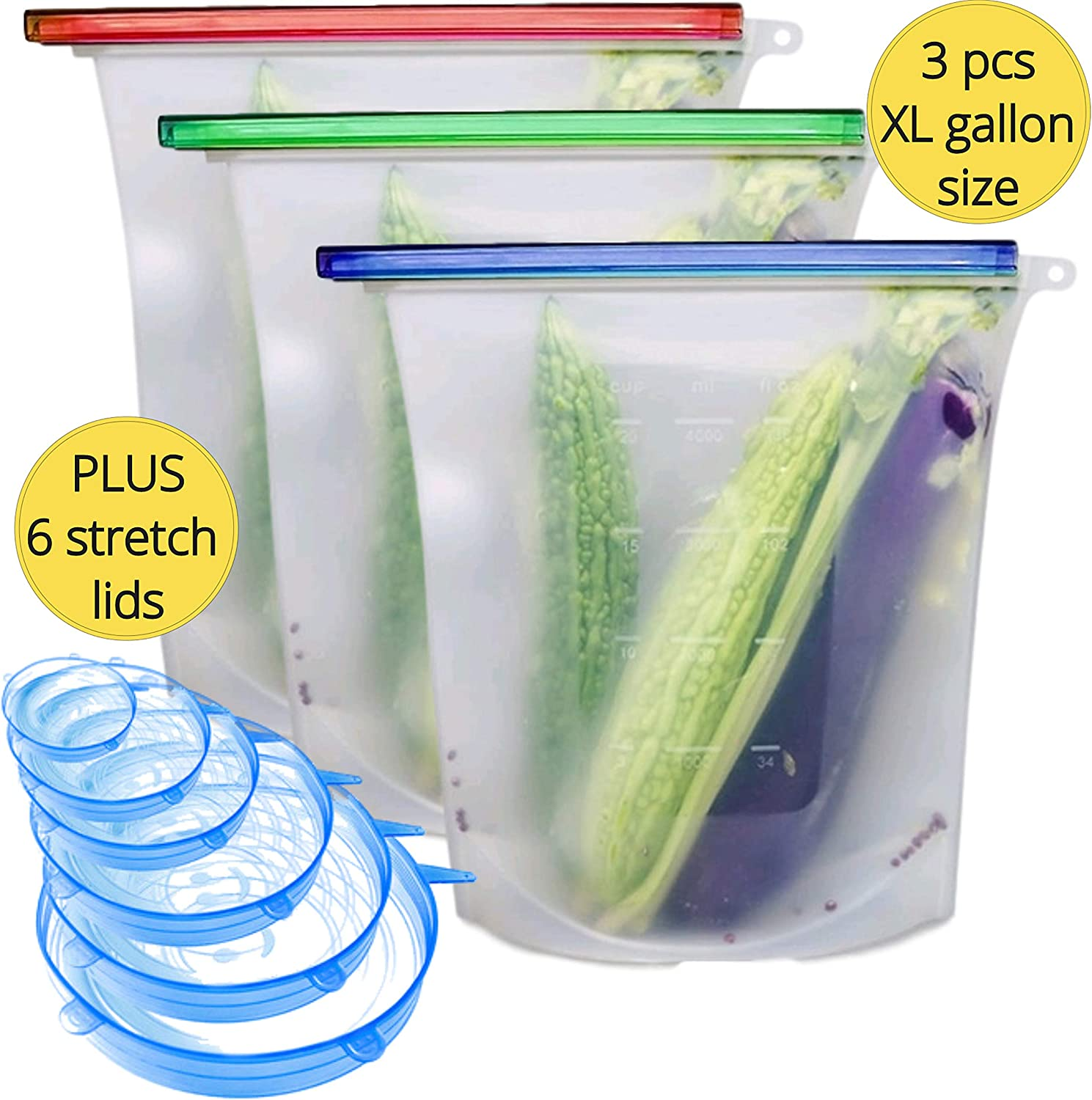BodyMoves 3 pack gallon size Reusable Silicone Food Storage Bags plus Stretch Lids