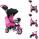 New smarTrike Swing 4-in-1 Baby Trike Light-Weight 12 pound With Padded Soft Seat, High Back SUpport, 3 Point Safety Harness, shoulder pads, Cup Holder Storage Bag Canopy in Pink …
