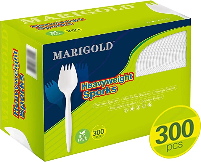 Heavy-weight 300Pk Disposable Sporks BPA-Free - MARIGOLD Recyclable cutlery, Eco-Friendly and Kid-Safe Utensils, Great for School Lunch, Picnics or Restaurant and Party Supply Spoons and Forks
