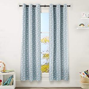 "AmazonBasics Kids Room Darkening Blackout Window Curtain Set with Grommets - 42"" x 84"", Clouds"