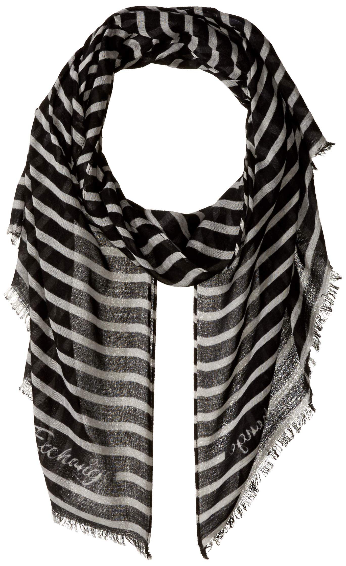 A|X Armani Exchange Women's Graphic Scarf, black/stripe off white, One Size by A|X Armani Exchange