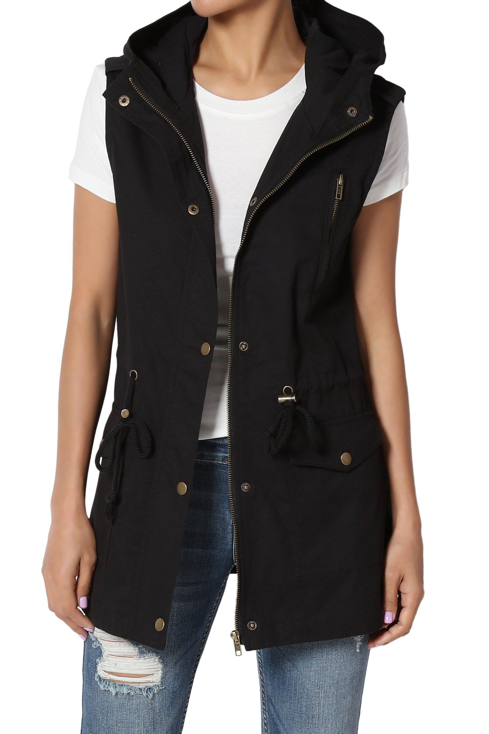 TheMogan Women's Military Drawstring Waist Loose Fit Utility Hoodie Vest Black L