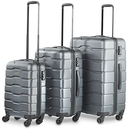 c5fd15671167 VonHaus Premium 3 Piece Lightweight Luggage Set – Hardshell with TSA  Integrated Lock, Spinner Rolling Wheels - Gray