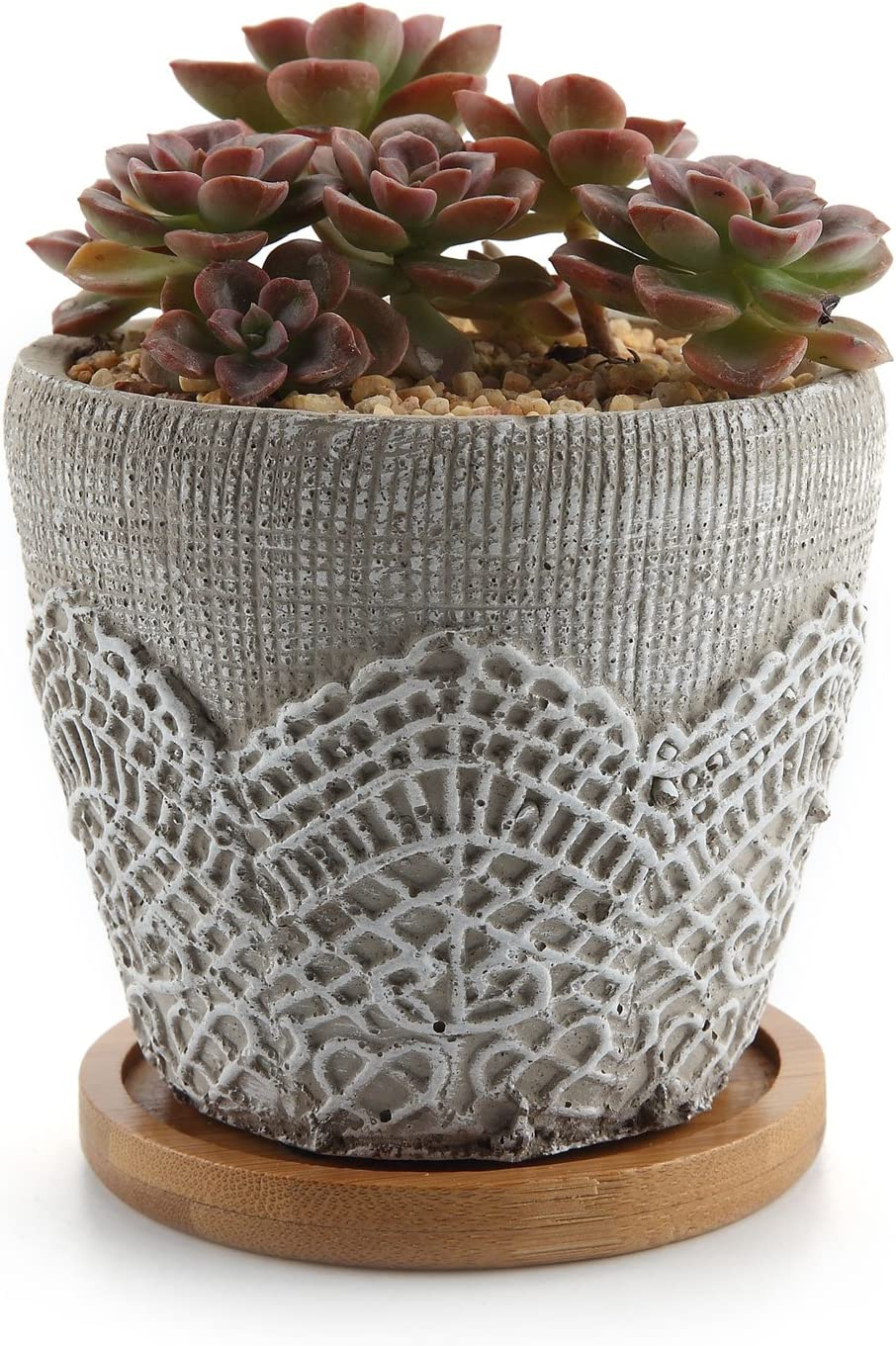 T4U 3.75 Inch Cement Lace Pattern Pot Succulent Plant Planter Cactus Plant Container Classic Design with Bamboo Tray – Pack of 1