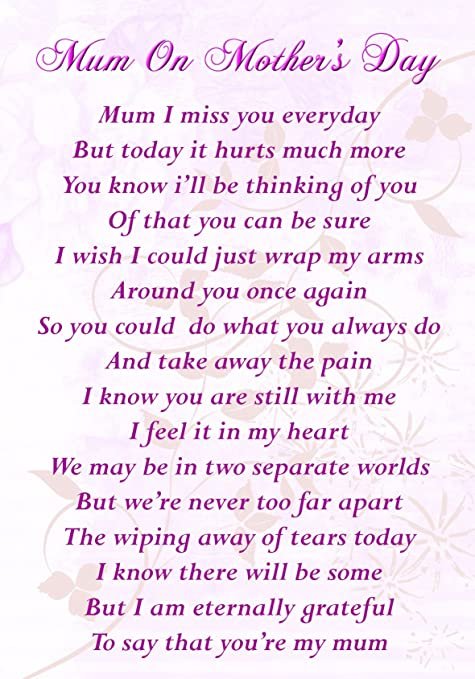 Mum On Mothers Day Memorial Graveside Poem Keepsake Card Includes Free Ground Stake F85