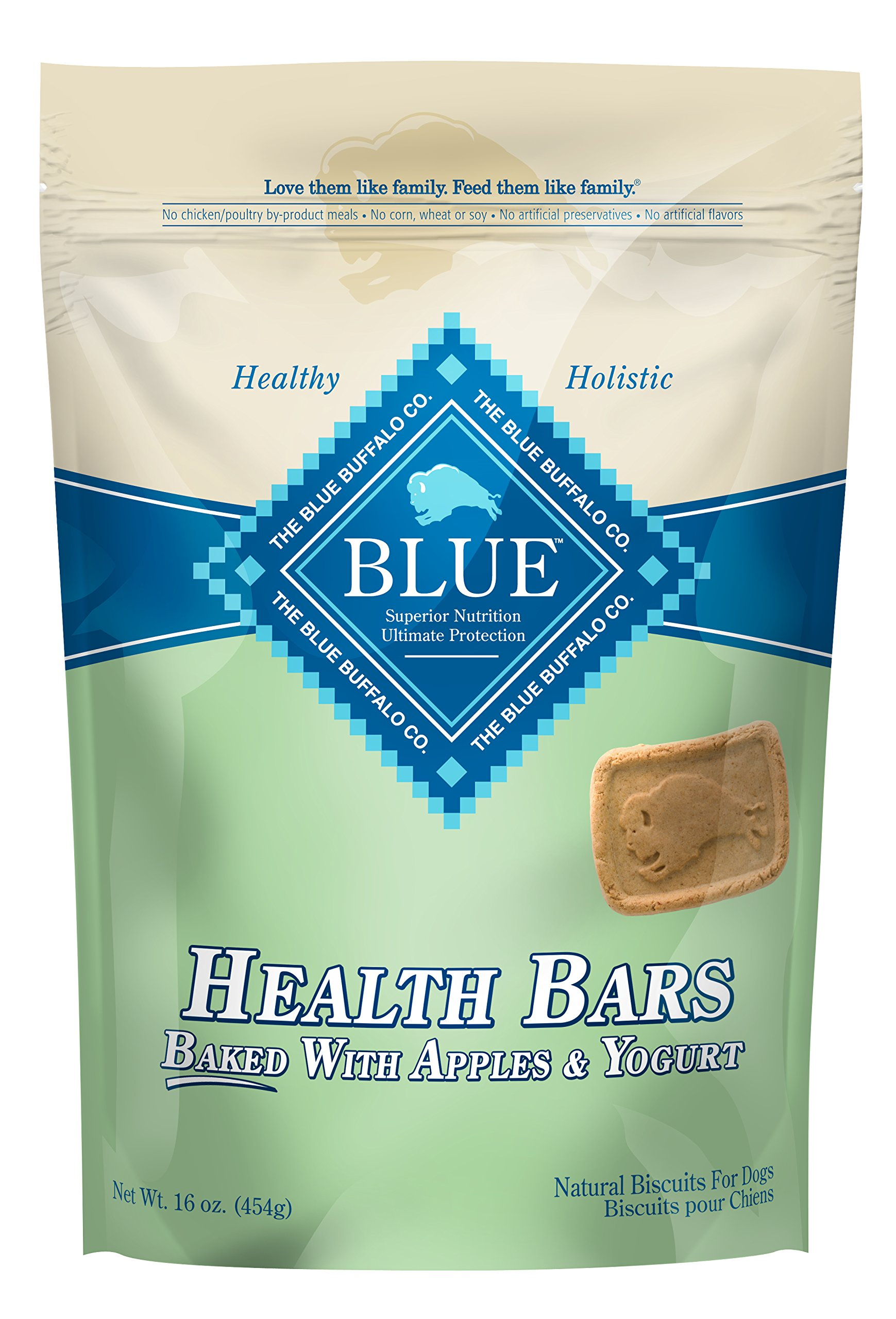 BLUE Health Bars Baked with Apples and Yogurt Crunchy Dog Treats, 16 oz (Pack of 12)