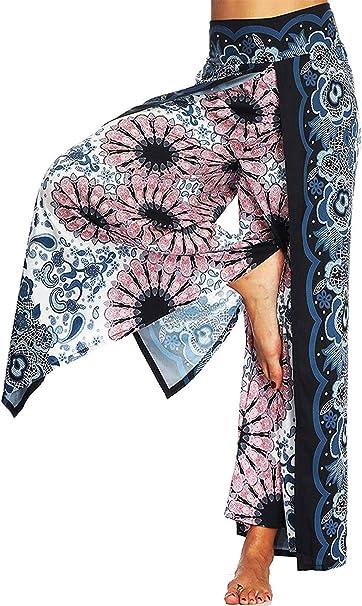 SEASUM Womens Boho Harem Pants Hippie Palazzo Casual Loose Yoga Outfits High Waisted Unisex