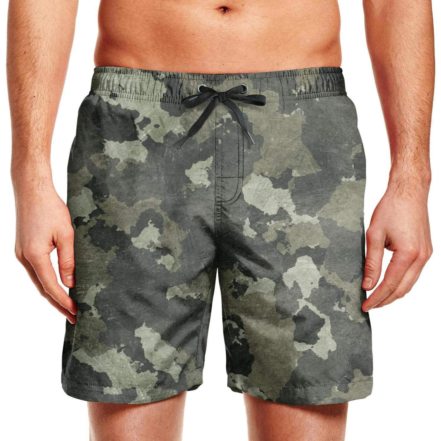 ZYLIN Mens Swim Trunks Printed Military Camo Camouflage Texture Beach Bathing Suits Short Slim Fit with Pockets