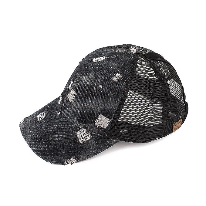 591c6320 C.C Hatsandscarf Exclusives Messy Buns Damaged Denim Fabric Trucker Hat  with Ponytail Baseball Cap (BT-8)