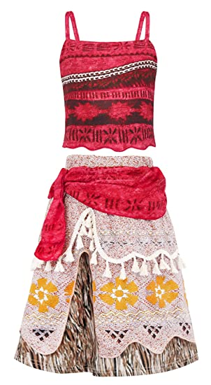 dba1e40d7cdf5 AmzBarley Moana Costume Dress Girls Theme Party Cosplay Princess Dress up  Kids Birthday Outfit 2-Piece Skirt Sets