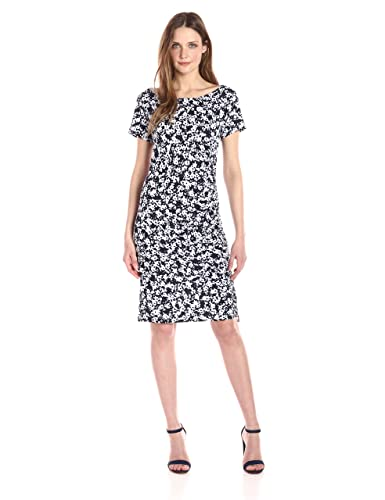 Jones New York Women's Short Sleeve Print Side Draped Shirred