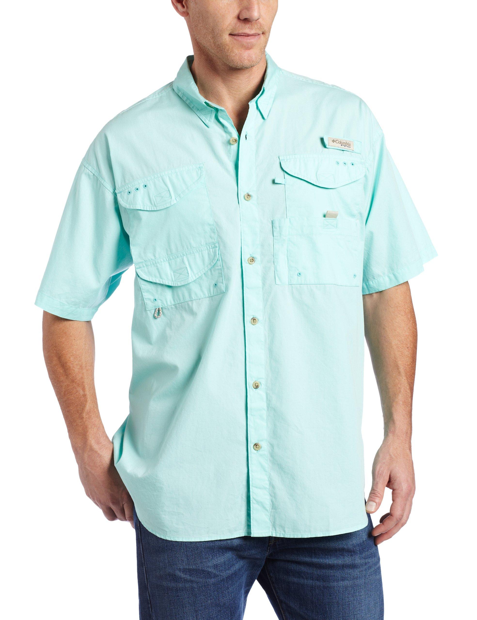 Columbia Men's Bonehead Short Sleeve Fishing Shirt (Gulf Stream, Large) by Columbia