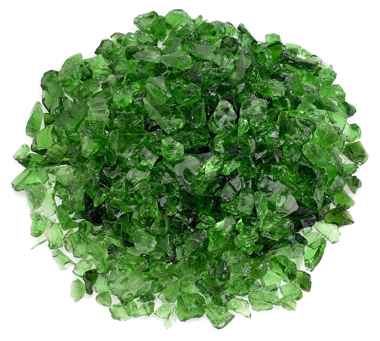 American Fireglass Light Green Recycled Fire Pit Glass - Small (12-18Mm), 20 lb. Bag