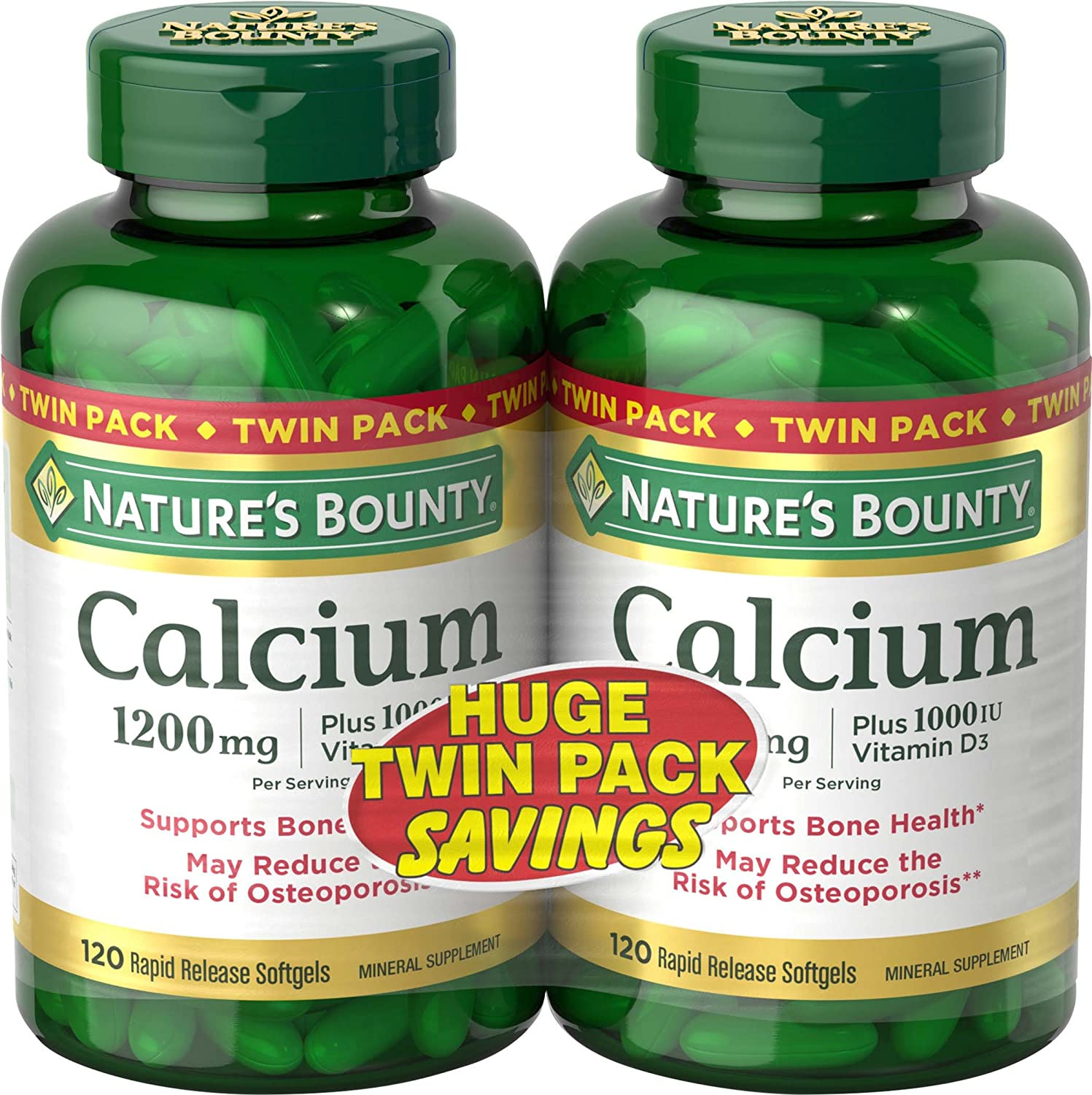 Nature's Bounty Calcium 1200 mg + D Twin Pack Soft Gels, 120 Count
