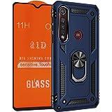 NETONBOX.COM Funda Anillo Uso Rudo Moto G8 Plus Antishock Holder Case + Mica Cristal Templado 21D 11H 0.33 mm Full…