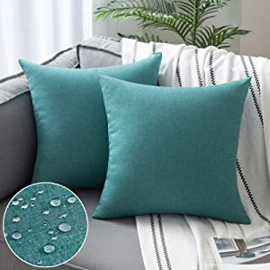 Woaboy Set of 2 Outdoor Waterproof Throw Pillow Covers Decorative Farmhouse Solid Cushion Cases for Patio Garden Sofa Chairs Turquoise 16x16 inch