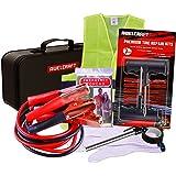 AWELCRAFT Roadside Emergency car Kit – Heavy Duty Car Emergency Kit – Jumper Cables, Tire Repair Kit, Tire Pressure Gauge, Ra