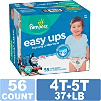 Pampers Easy Ups Training Pants Pull On Disposable Diapers for Boys, Size 6 (4T-5T), 56 Count, SUPER