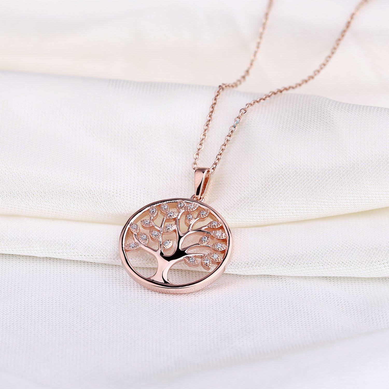 6034b0d49b4846 YH collana albero della vita, Ciondolo Argento 925 Albero della vita  Ciondolo Collana da Donna, gioielli, catena: 45 - 50 cm (rotgoldet, ...