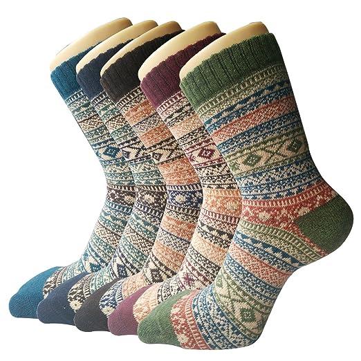 5 Pack Womens Thick Knit Warm Casual Wool Crew Winter Socks at ... e945f483b3