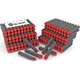 300 Pack Off-Set Waffle Darts Black With Red Tips by Ray Squad Compatible with N-Strike Elite Series Blasters