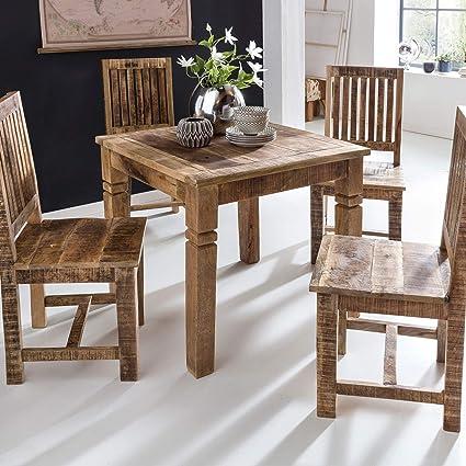 FineBuy Esszimmertisch FB45593 Braun 80 x 80 x 76 cm Mango Massivholz |  Design Landhaus Esstisch Massiv | Tisch für Esszimmer Quadratisch | ...