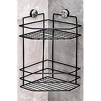 Ömür Boyu Paslanmaz Banyo Köşeliği Banyo Rafı Şampuanlık (1 Katlı Siyah)