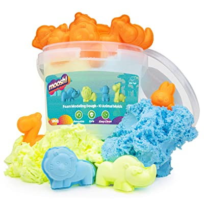 USA Toyz Moosh Fluffy Modeling Clay - Soft Foam Non Drying Clay w/ 10 Animal Molds (Blue/Yellow): Toys & Games