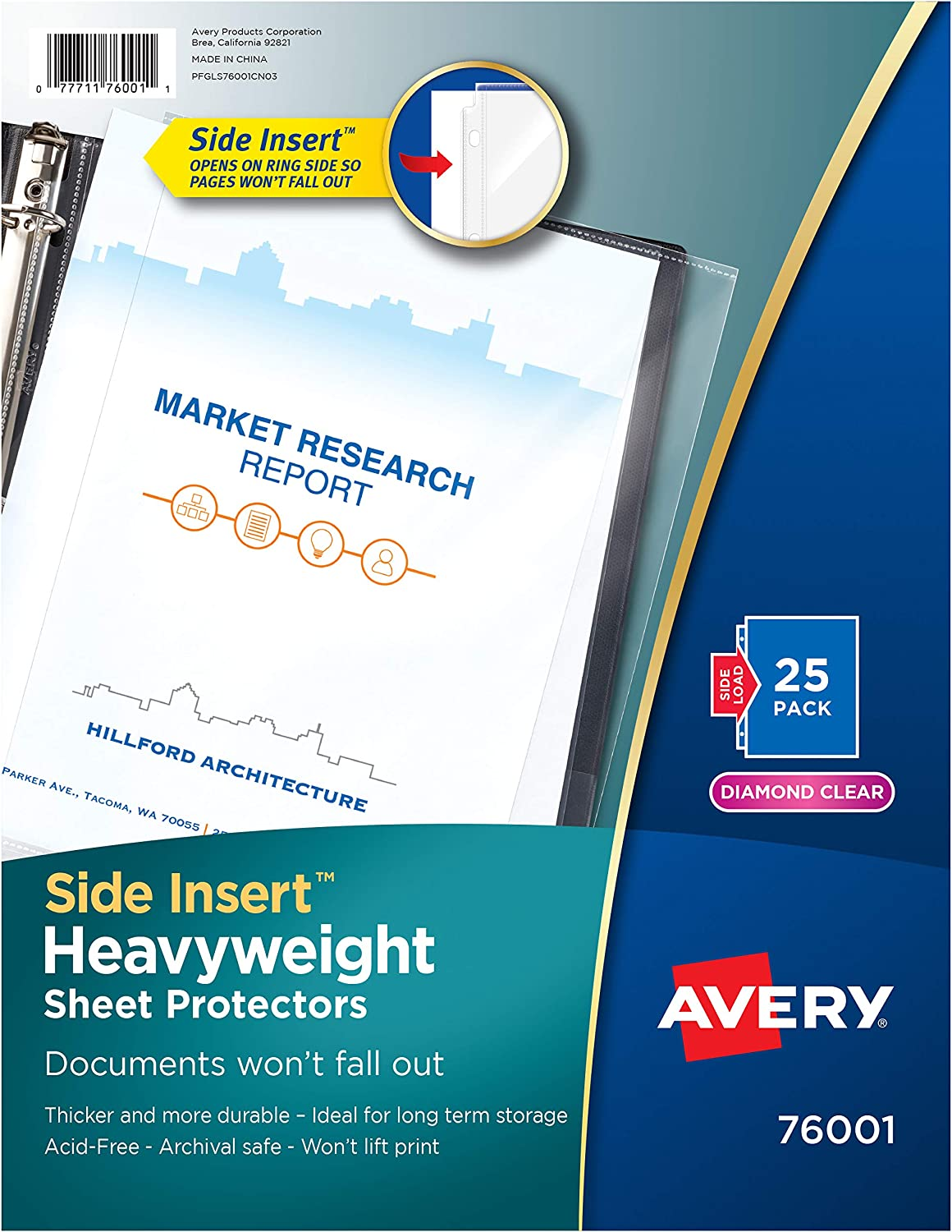 Avery 76001 Secure Side-Load Sheet Protectors, Heavy Gauge, Letter, Diamond Clear (Pack of 25) : Office Products