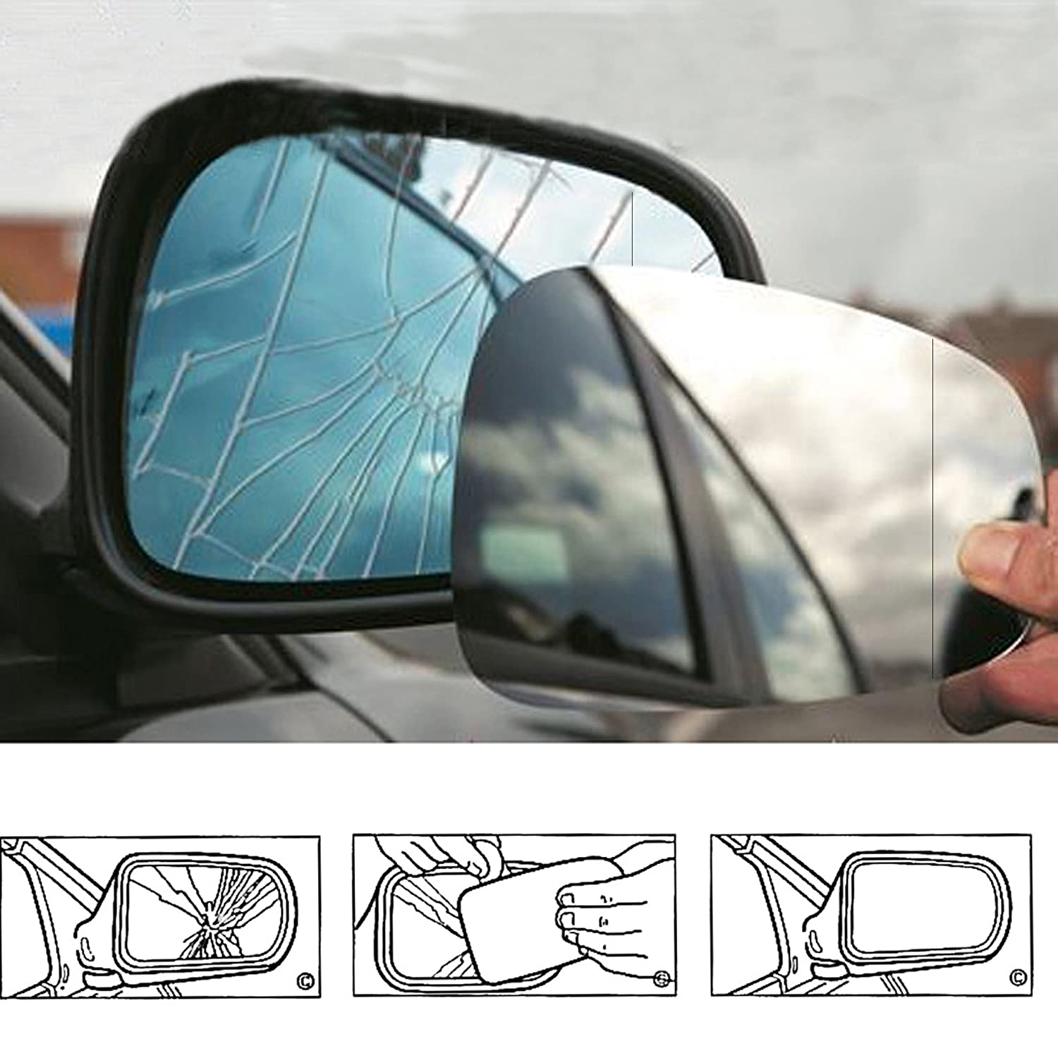 Wing Mirror Glass, Convex, UK Driver Side , For Car Year ( 2003 --> 2016 ) OEM Auto Parts