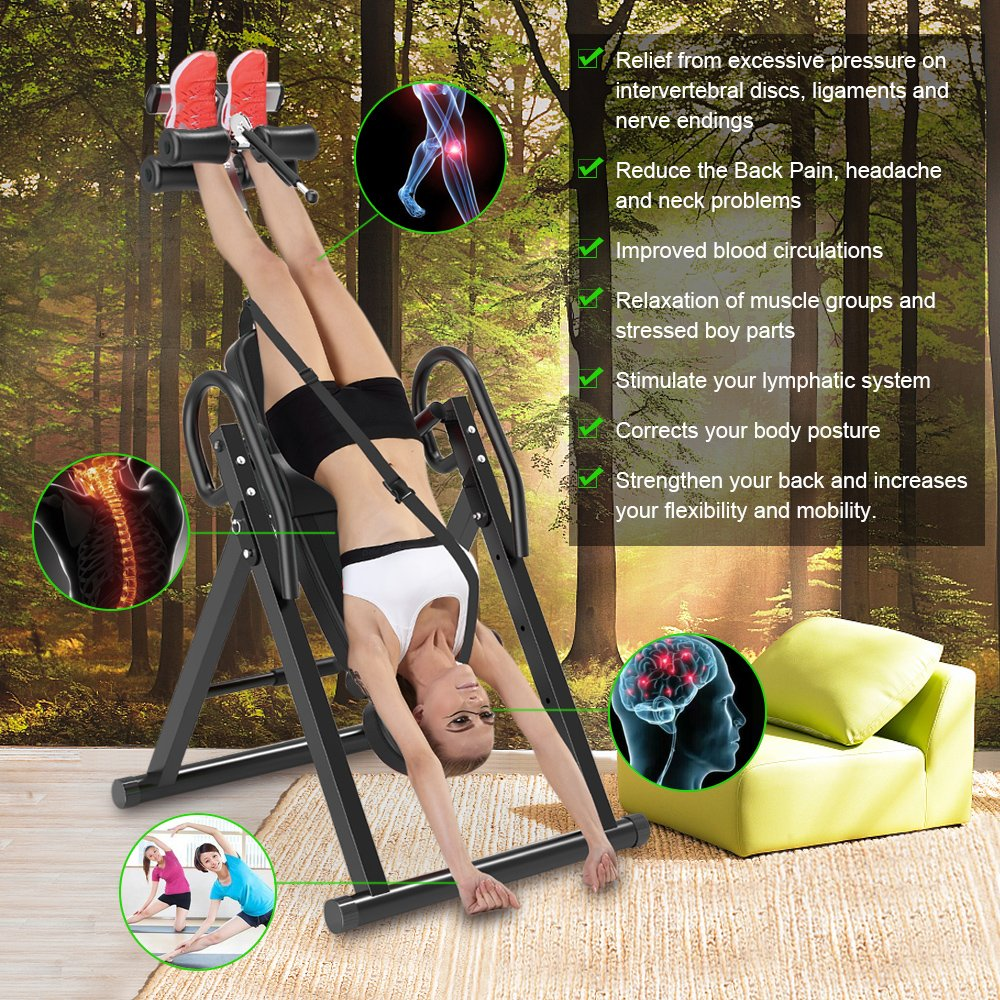 Yoleo Gravity Heavy Duty Inversion Table with Adjustable Headrest & Protective Belt (Black) by Yoleo (Image #3)