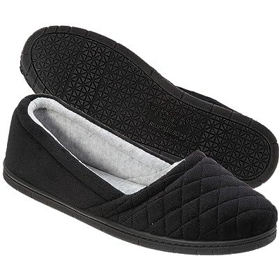 Dearfoams Womens Microfiber Velour Espadrille Slippers- Black | Slippers