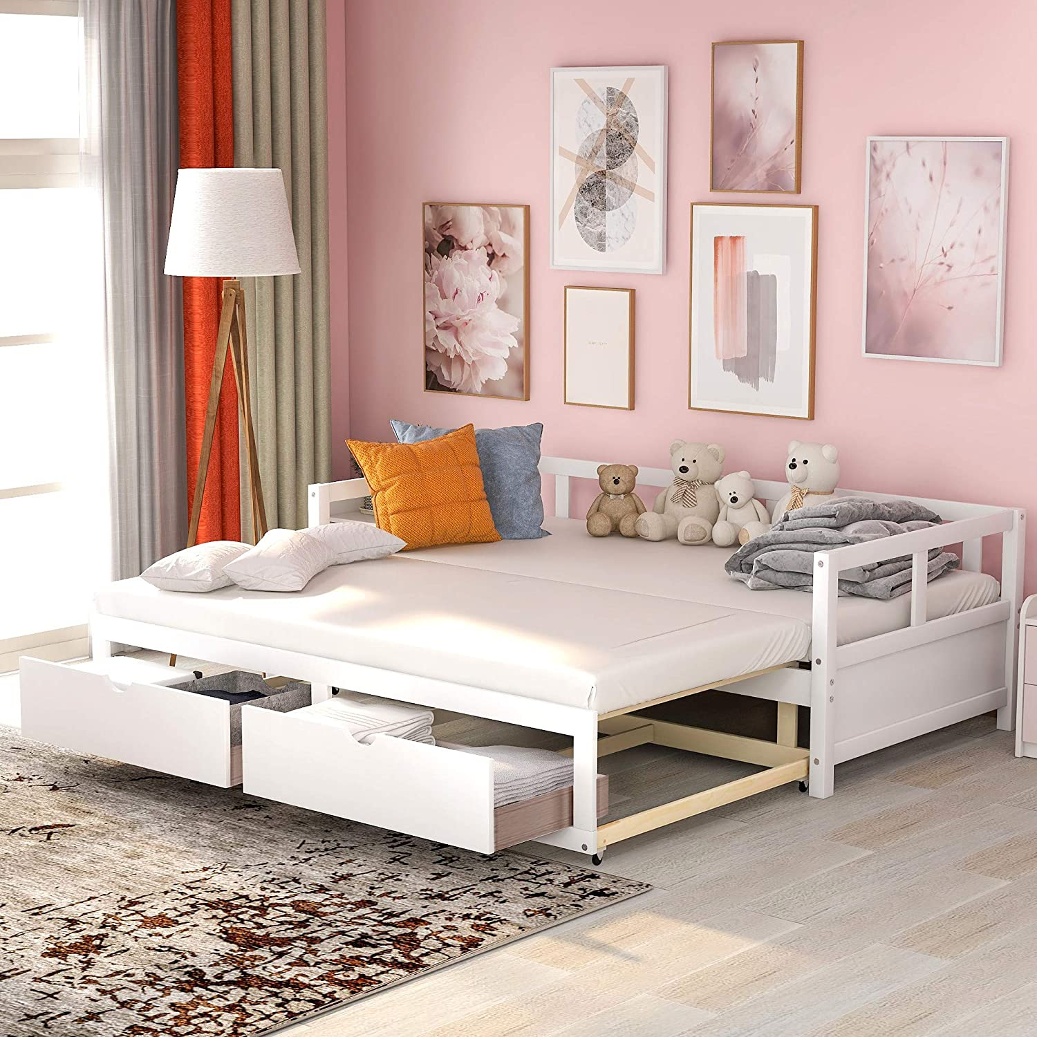 - Amazon.com: Wooden Daybed With Trundle Bed And Two Storage Drawers,  Extendable Bed Daybed,Sofa Bed For Bedroom Living Room,No Box Spring  Required (White): Kitchen & Dining