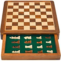 """A K Handicrafts 10"""" x 10"""" Wooden Drawer Chess Game Board Set+ Magnetic Wood Crafted Pieces"""