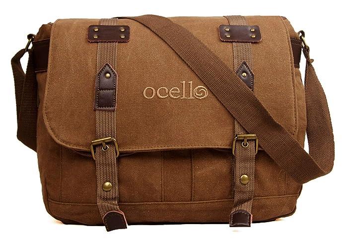 Ocello Canvas School Work College Satchel Fits A4 Dispatch Messenger Bag  (Brown)  Amazon.co.uk  Shoes   Bags ba0adbfb83a76