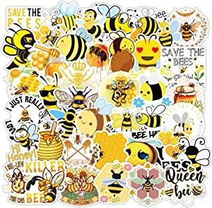 50Pcs Cute Lovely Honey Bee Waterproof Stickers for Laptops Books Cars Motorcycles Skateboards Bicycles Suitcases Skis Luggage Hydro Flasks etc BXQX