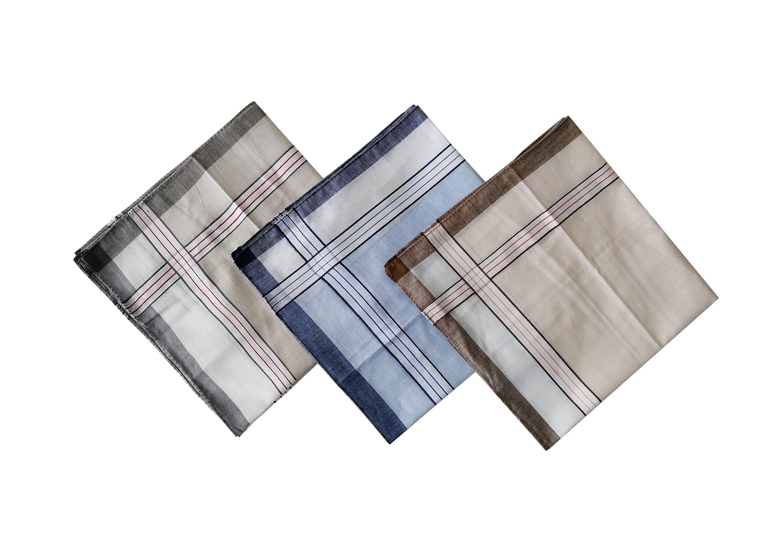 12PCS KINGREE Mens and Boys Gentleman Vintage Casual Hankie Cotton Handkerchiefs, 100% Cotton Men's Handkerchief (12PCS-Mix22)