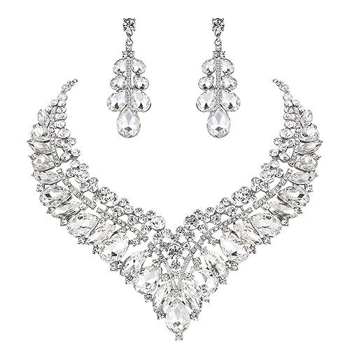 Clearine Women's Wedding Bridal Austrian Crystal Teardrop Cluster Statement Necklace Dangle Earrings Set DbIrDJU