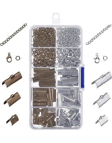 Cinta Pulsera Kit marcapáginas Pinch Crimp extremos con mosquetón con saltar anillos y cadena extensores,