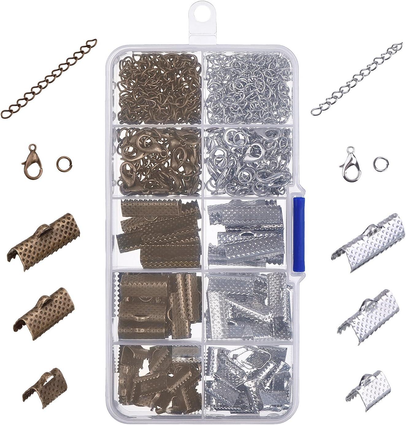Kit de Pulsera de Cinta Extremos de Cierre Presionado Broche de Langosta con Anillas Abiertas y Extensor de Cadena Multicolor B 370 Piezas