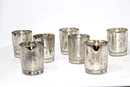 525a34378f Image Unavailable. Image not available for. Color: Mercury Votive Candle  Holder. Set of 12 (Vintage Silver)
